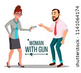 business woman with gun vector. ... | Shutterstock .eps vector #1141064174