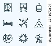 traveling icons line style set... | Shutterstock .eps vector #1141072604