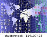 A stock exchange board with a graph and world map / Global market - stock photo