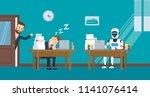 businessman sleeping at... | Shutterstock .eps vector #1141076414