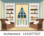room with a large window... | Shutterstock .eps vector #1141077527