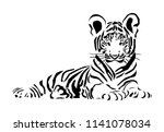 Tiger Cub  Drawn By Lines