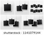 set of blank photo frame set...   Shutterstock .eps vector #1141079144