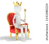 3d man king sitting on the... | Shutterstock . vector #1141080224