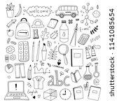 school doodle illustration set. ... | Shutterstock .eps vector #1141085654