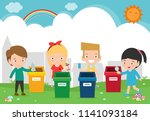 children collect rubbish for... | Shutterstock .eps vector #1141093184