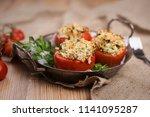 stuffed baked tomatoes | Shutterstock . vector #1141095287