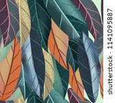tropical vintage vector pattern ... | Shutterstock .eps vector #1141095887