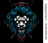 the lion sacred geometry... | Shutterstock .eps vector #1141099091