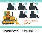 bear rides on the bulldozer.... | Shutterstock .eps vector #1141102217