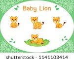 cute baby lion cartoon set. cub.... | Shutterstock .eps vector #1141103414