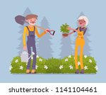 elderly gardeners working.... | Shutterstock .eps vector #1141104461