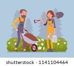 young gardeners working. happy... | Shutterstock .eps vector #1141104464