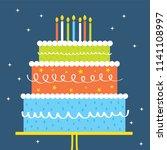 colorful birthday cake design | Shutterstock .eps vector #1141108997