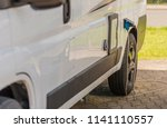 Camper Van Electric Hookup. Electricity Connection on the Camping Spot. Rving Theme. - stock photo