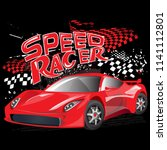 speed racer poster with red... | Shutterstock .eps vector #1141112801