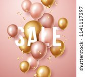sale banner with pink and gold ... | Shutterstock .eps vector #1141117397