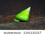 emerald green snail or green... | Shutterstock . vector #1141131317