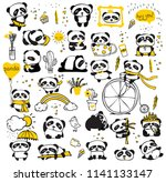 panda doodle kid set. simple... | Shutterstock .eps vector #1141133147