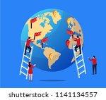 business team deploys global... | Shutterstock .eps vector #1141134557