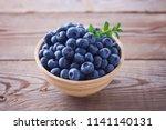 bowl full of blueberries  ...   Shutterstock . vector #1141140131
