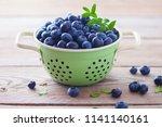 bowl full of blueberries  ... | Shutterstock . vector #1141140161