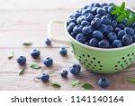 bowl full of blueberries  ... | Shutterstock . vector #1141140164