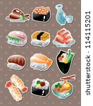 japanese food stickers | Shutterstock .eps vector #114115201
