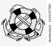 crossed nautical anchors and...   Shutterstock .eps vector #1141157381