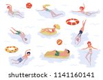 flat vector set of swimming... | Shutterstock .eps vector #1141160141