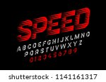 speed style font  alphabet and... | Shutterstock .eps vector #1141161317