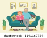 happy grandfather with... | Shutterstock .eps vector #1141167734
