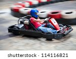 indoor karting race  rushing... | Shutterstock . vector #114116821