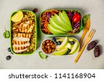 healthy lunch in boxes | Shutterstock . vector #1141168904