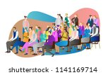 crowd audience vector... | Shutterstock .eps vector #1141169714