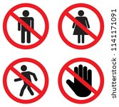no entry sign set. no man  no... | Shutterstock .eps vector #1141171091