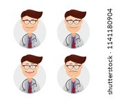 set funny wacky male face... | Shutterstock .eps vector #1141180904