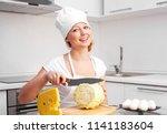 beautiful young woman cutting... | Shutterstock . vector #1141183604