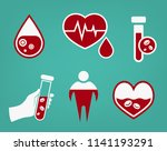 anemia and hemophilia icons set ... | Shutterstock .eps vector #1141193291