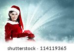 Christmas illlustration of beautiful girl in santa costume - stock photo