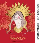 navratri vector illustration... | Shutterstock .eps vector #1141200221