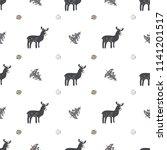 scandinavian pattern with elks...   Shutterstock .eps vector #1141201517