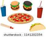 fast food. delicious tartilya ... | Shutterstock .eps vector #1141202354