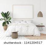 mock up poster frame in bedroom ... | Shutterstock . vector #1141204517