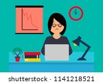 business woman working at...   Shutterstock .eps vector #1141218521