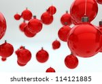 render of a group of christmas balls - stock photo