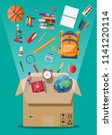 school items and cardboard box. ... | Shutterstock .eps vector #1141220114