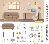living room and office interior.... | Shutterstock .eps vector #1141221164