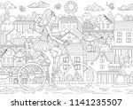 fashion girl is riding on a... | Shutterstock .eps vector #1141235507
