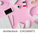 top view of office desk... | Shutterstock . vector #1141260671